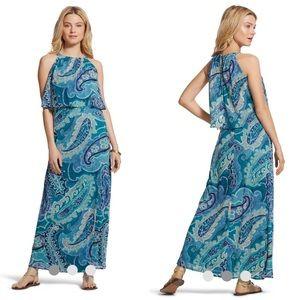 Chico's OCEAN PAISLEY BIB MAXI DRESS Size 1/M/8